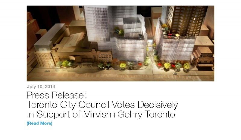 Press Release: Toronto City Council Votes Decisively In Support of Mirvish+Gehry Toronto